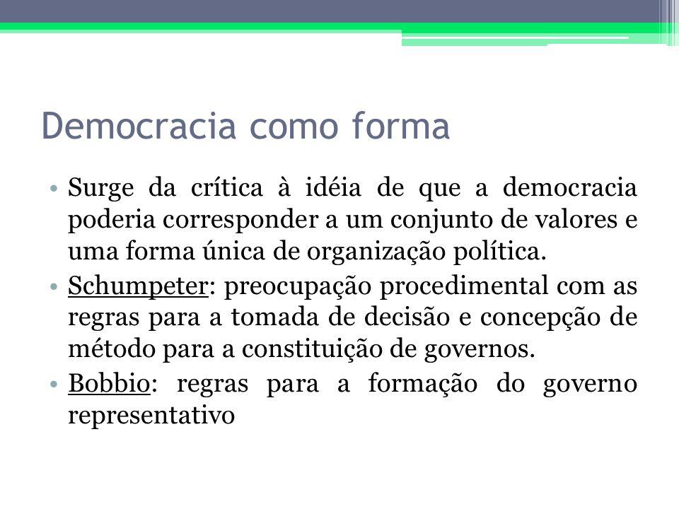 Democracia como forma Surge da crítica à idéia de que a democracia poderia corresponder a um conjunto de valores e uma forma única de organização polí