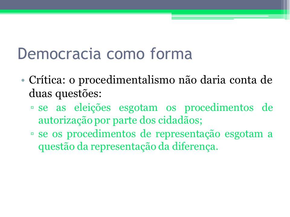 Democracia como forma Crítica: o procedimentalismo não daria conta de duas questões: se as eleições esgotam os procedimentos de autorização por parte