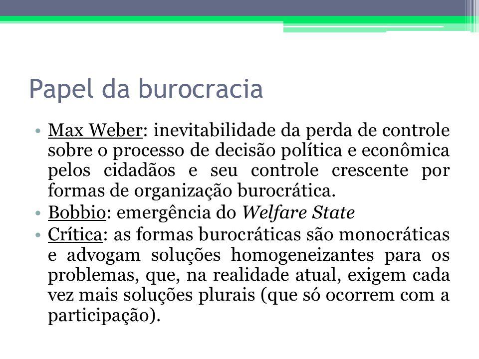 Papel da burocracia Max Weber: inevitabilidade da perda de controle sobre o processo de decisão política e econômica pelos cidadãos e seu controle cre