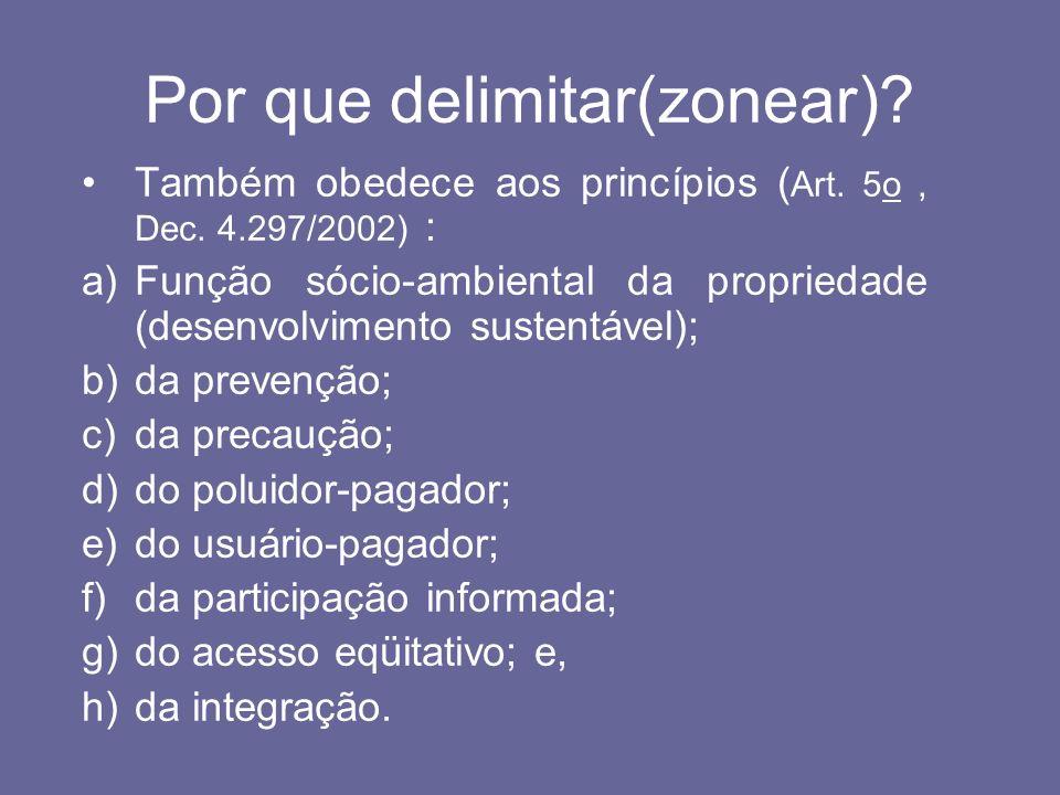 Por que delimitar(zonear)? Também obedece aos princípios ( Art. 5o, Dec. 4.297/2002) : a)Função sócio-ambiental da propriedade (desenvolvimento susten