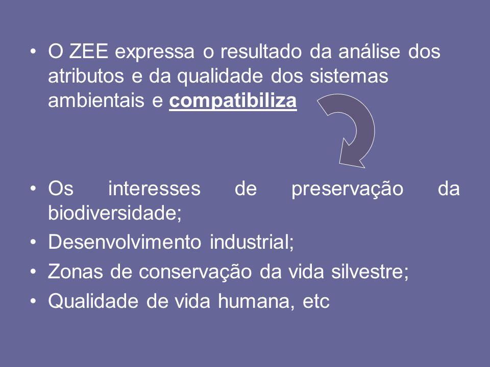 O ZEE expressa o resultado da análise dos atributos e da qualidade dos sistemas ambientais e compatibiliza Os interesses de preservação da biodiversid