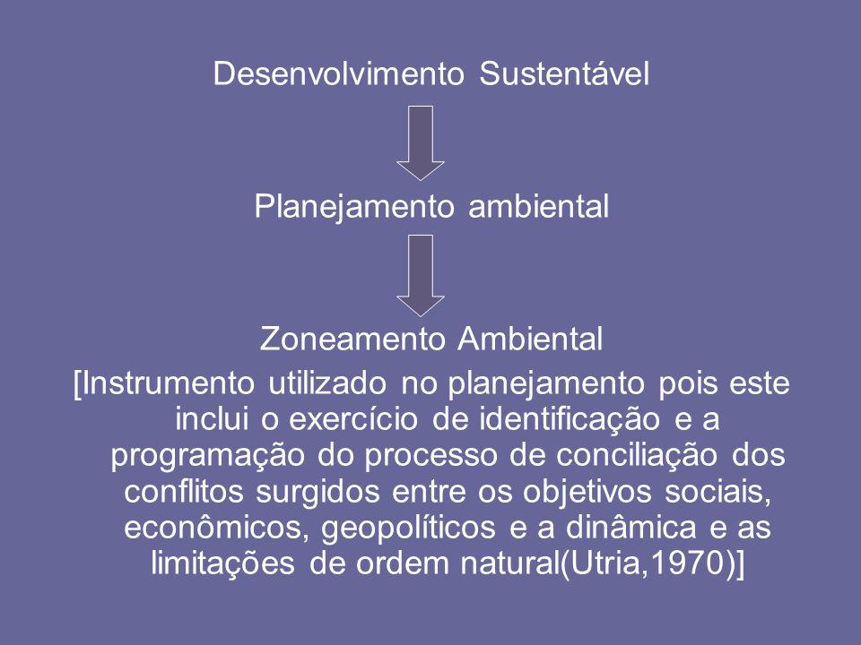 Desenvolvimento Sustentável Planejamento ambiental Zoneamento Ambiental [Instrumento utilizado no planejamento pois este inclui o exercício de identif