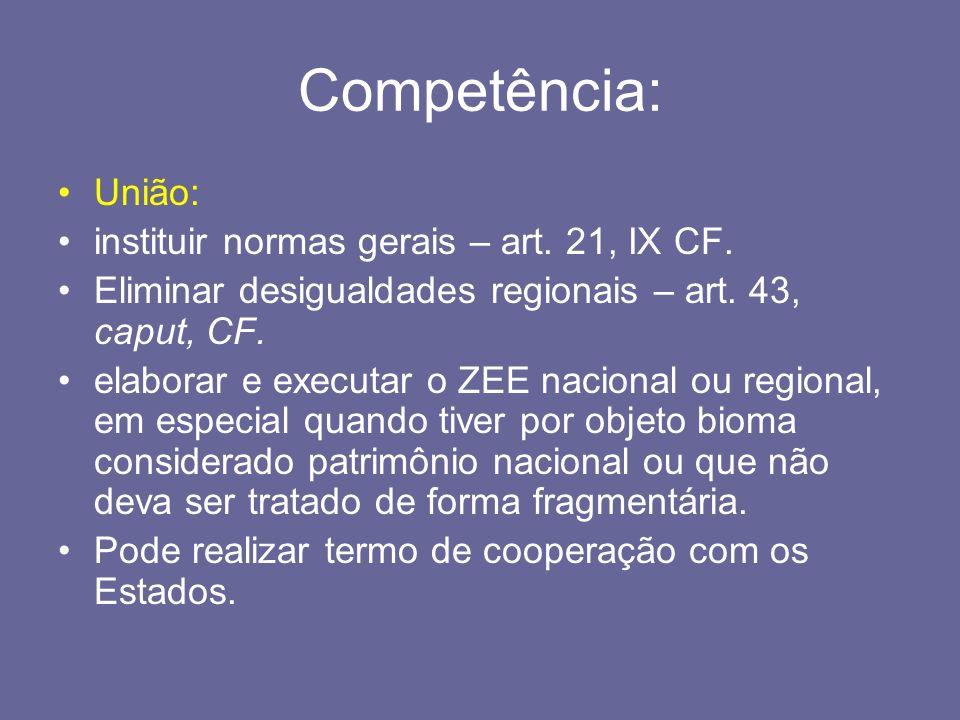 Competência: União: instituir normas gerais – art. 21, IX CF. Eliminar desigualdades regionais – art. 43, caput, CF. elaborar e executar o ZEE naciona