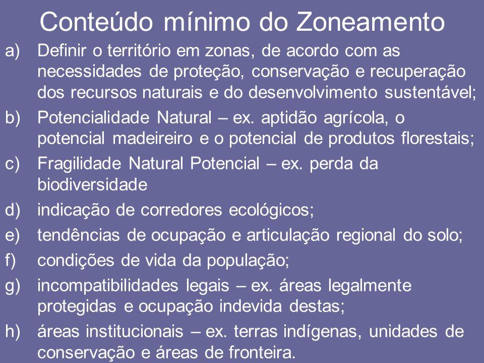 Conteúdo mínimo do Zoneamento a)Definir o território em zonas, de acordo com as necessidades de proteção, conservação e recuperação dos recursos natur