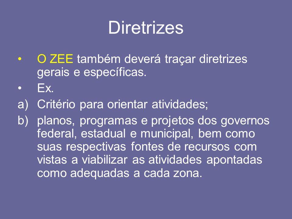 Diretrizes O ZEE também deverá traçar diretrizes gerais e específicas. Ex. a)Critério para orientar atividades; b)planos, programas e projetos dos gov