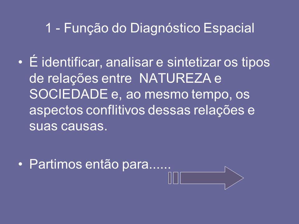 1 - Função do Diagnóstico Espacial É identificar, analisar e sintetizar os tipos de relações entre NATUREZA e SOCIEDADE e, ao mesmo tempo, os aspectos