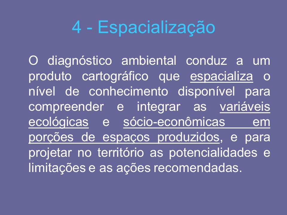 4 - Espacialização O diagnóstico ambiental conduz a um produto cartográfico que espacializa o nível de conhecimento disponível para compreender e inte