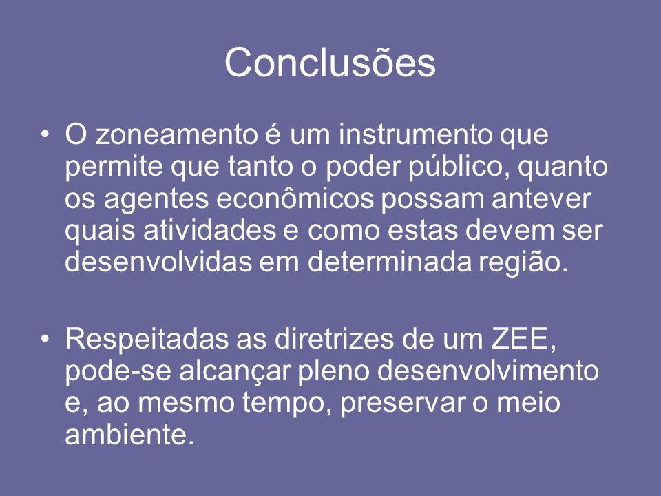 Conclusões O zoneamento é um instrumento que permite que tanto o poder público, quanto os agentes econômicos possam antever quais atividades e como es