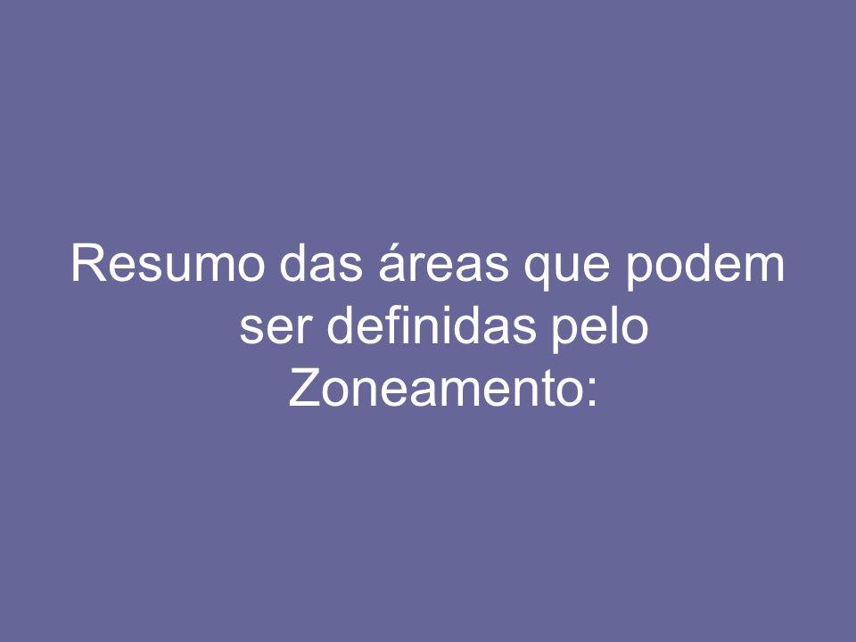 Resumo das áreas que podem ser definidas pelo Zoneamento: