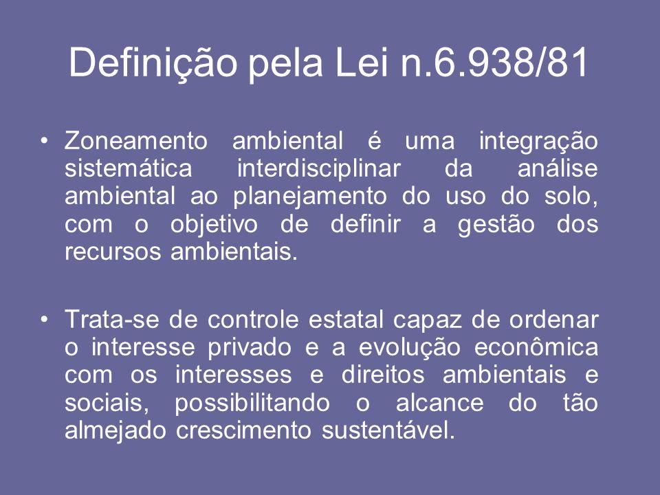 Definição pela Lei n.6.938/81 Zoneamento ambiental é uma integração sistemática interdisciplinar da análise ambiental ao planejamento do uso do solo,