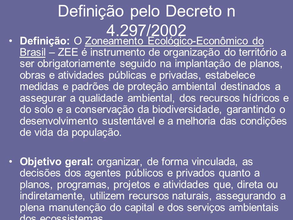 Definição pelo Decreto n 4.297/2002 Definição: O Zoneamento Ecológico-Econômico do Brasil – ZEE é instrumento de organização do território a ser obrig