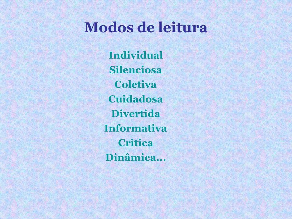 Modos de leitura Individual Silenciosa Coletiva Cuidadosa Divertida Informativa Critica Dinâmica...