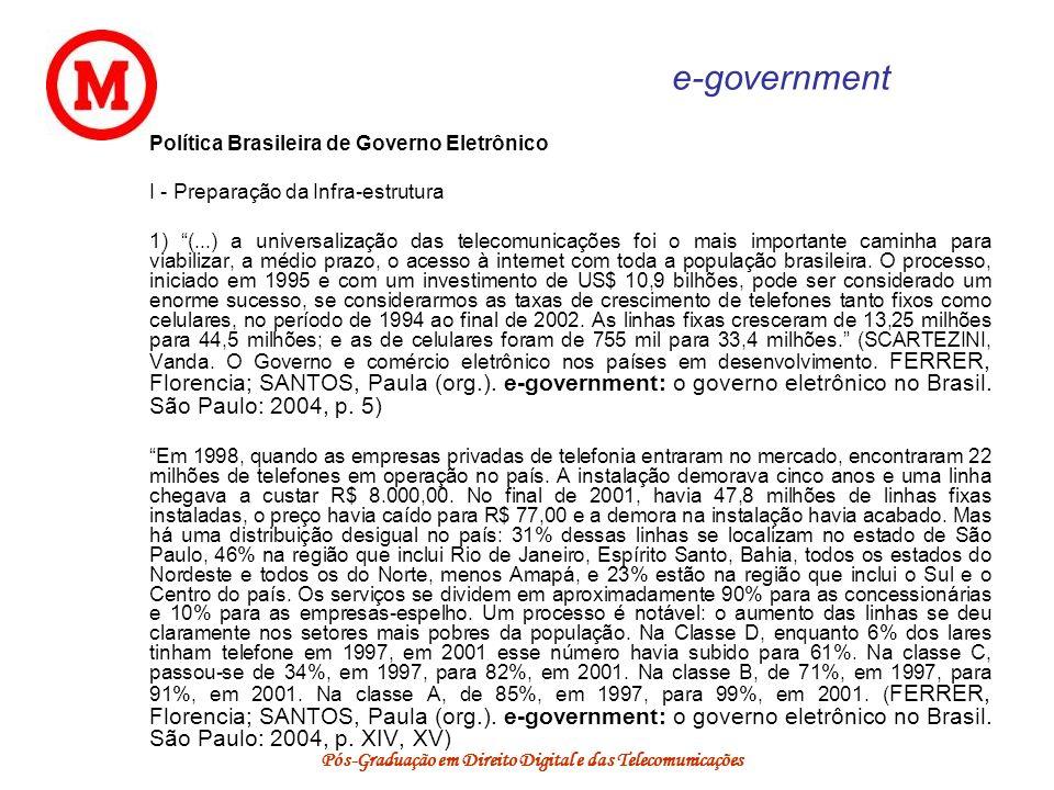Pós-Graduação em Direito Digital e das Telecomunicações e-government Política Brasileira de Governo Eletrônico I - Preparação da Infra-estrutura 1) (.