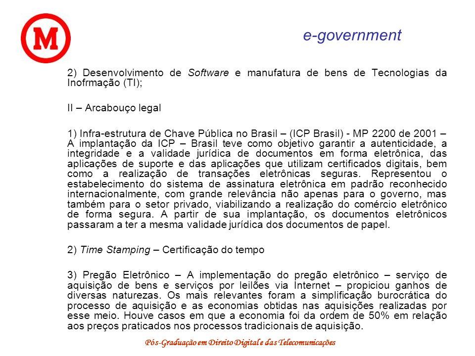 Pós-Graduação em Direito Digital e das Telecomunicações e-government 2) Desenvolvimento de Software e manufatura de bens de Tecnologias da Inofrmação