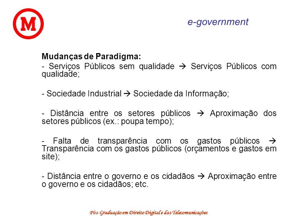 Pós-Graduação em Direito Digital e das Telecomunicações e-government Mudanças de Paradigma: - Serviços Públicos sem qualidade Serviços Públicos com qu