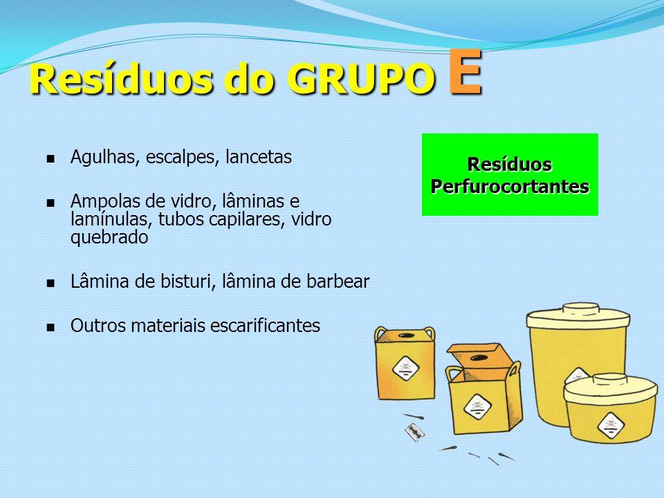 Resíduos do GRUPO E Resíduos Perfurocortantes Agulhas, escalpes, lancetas Ampolas de vidro, lâminas e lamínulas, tubos capilares, vidro quebrado Lâmin