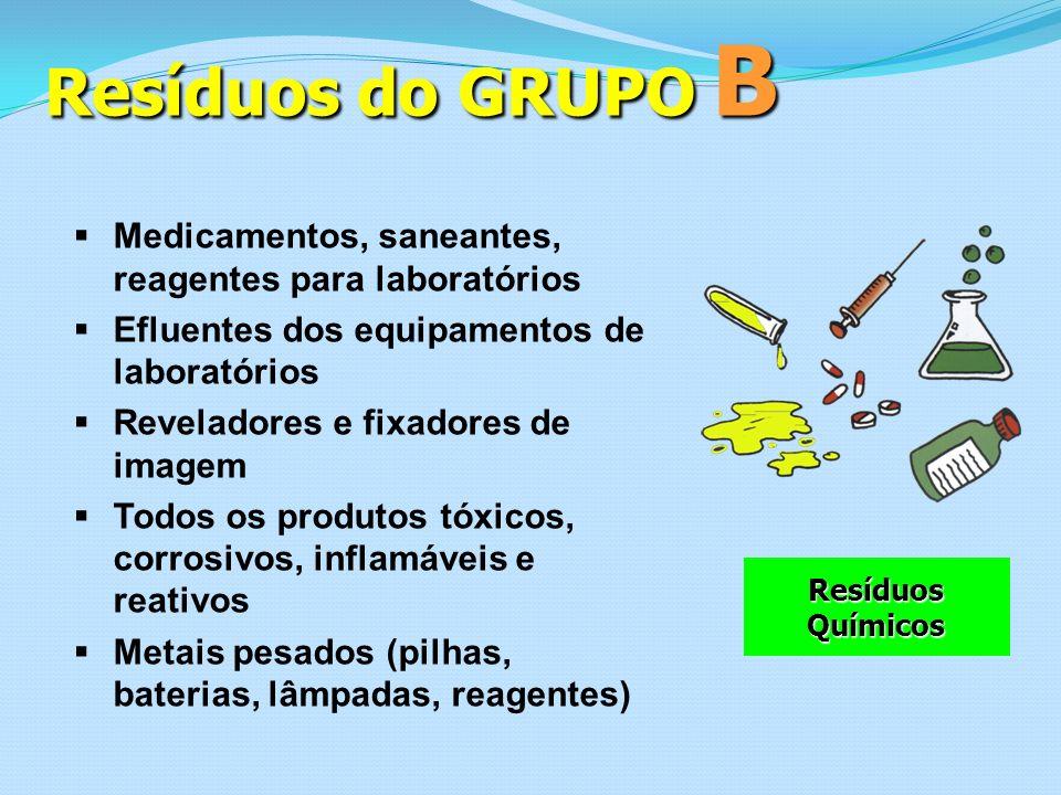 Resíduos do GRUPO B Medicamentos, saneantes, reagentes para laboratórios Efluentes dos equipamentos de laboratórios Reveladores e fixadores de imagem