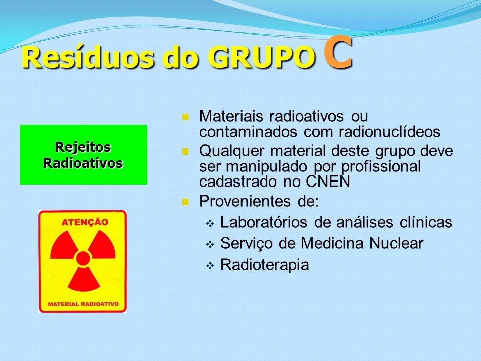 Resíduos do GRUPO C Rejeitos Radioativos Materiais radioativos ou contaminados com radionuclídeos Qualquer material deste grupo deve ser manipulado po