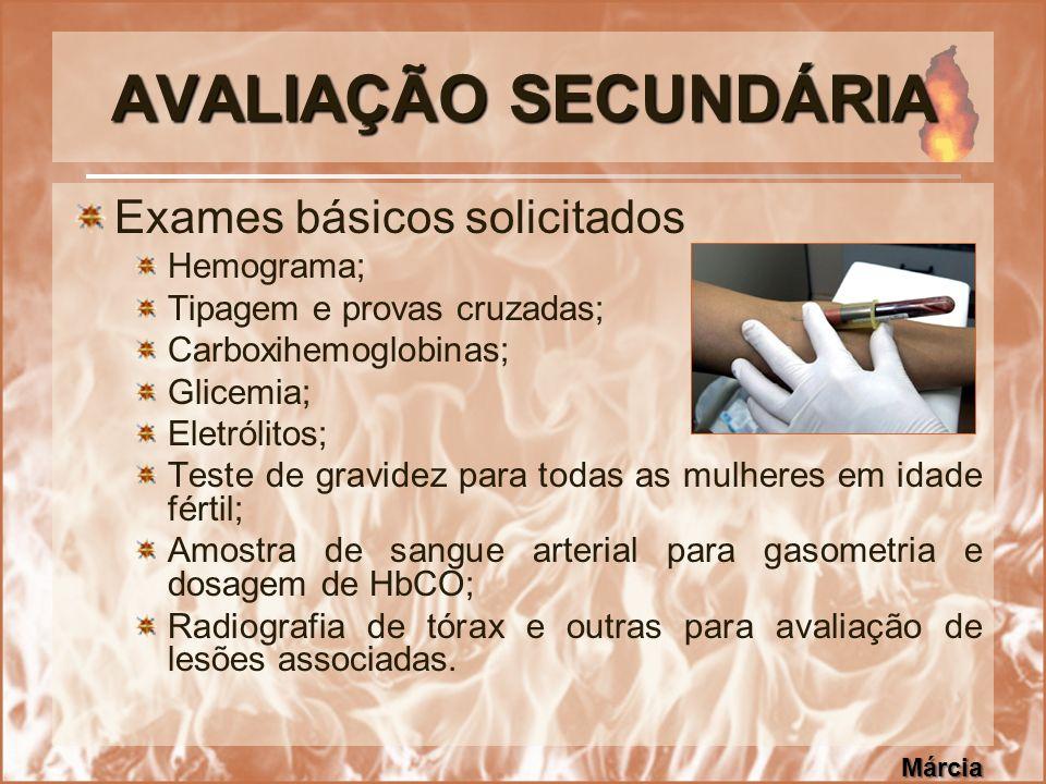 AVALIAÇÃO SECUNDÁRIA Exames básicos solicitados Hemograma; Tipagem e provas cruzadas; Carboxihemoglobinas; Glicemia; Eletrólitos; Teste de gravidez pa