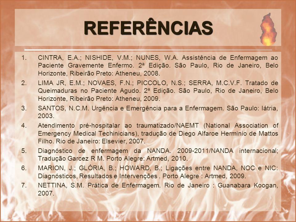 REFERÊNCIAS 1.CINTRA, E.A.; NISHIDE, V.M.; NUNES, W.A. Assistência de Enfermagem ao Paciente Gravemente Enfermo. 2ª Edição. São Paulo, Rio de Janeiro,