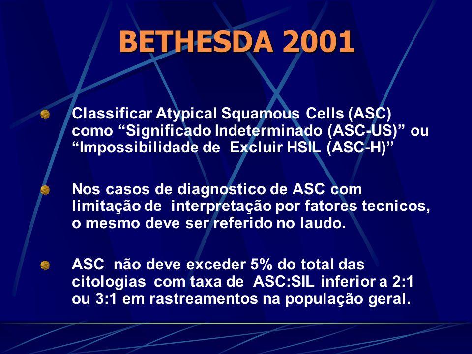 Classificar Atypical Squamous Cells (ASC) como Significado Indeterminado (ASC-US) ou Impossibilidade de Excluir HSIL (ASC-H) Nos casos de diagnostico