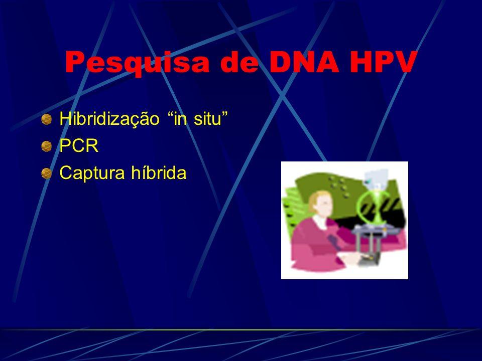 Pesquisa de DNA HPV Hibridização in situ PCR Captura híbrida