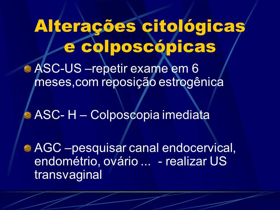 Alterações citológicas e colposcópicas ASC-US –repetir exame em 6 meses,com reposição estrogênica ASC- H – Colposcopia imediata AGC –pesquisar canal e