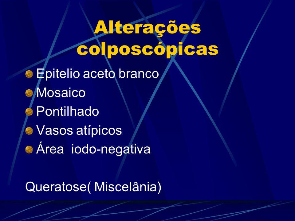 Alterações colposcópicas Epitelio aceto branco Mosaico Pontilhado Vasos atípicos Área iodo-negativa Queratose( Miscelânia)
