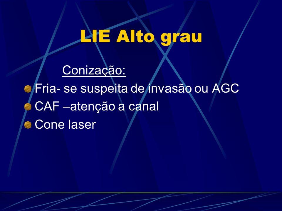 LIE Alto grau Conização: Fria- se suspeita de invasão ou AGC CAF –atenção a canal Cone laser