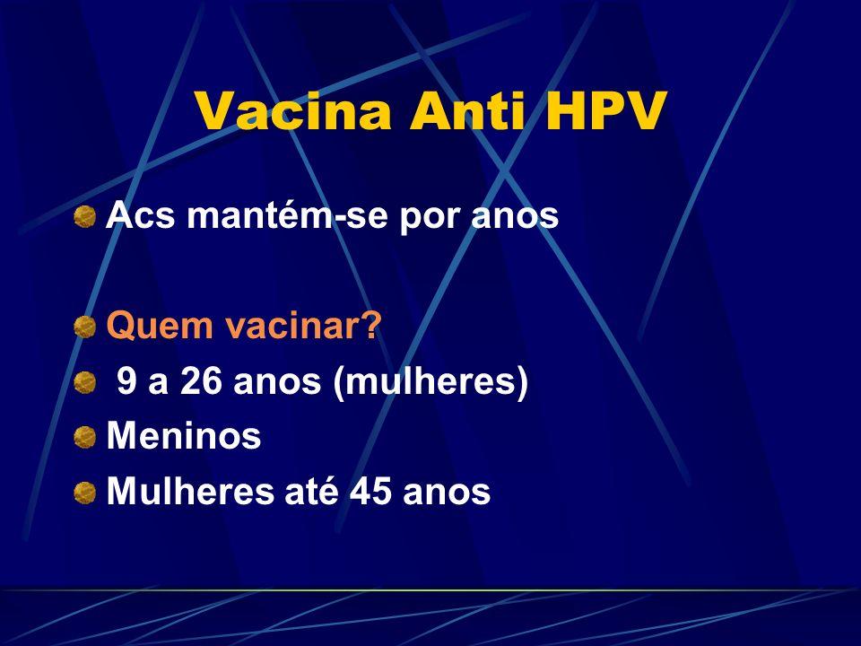 Vacina Anti HPV Acs mantém-se por anos Quem vacinar? 9 a 26 anos (mulheres) Meninos Mulheres até 45 anos