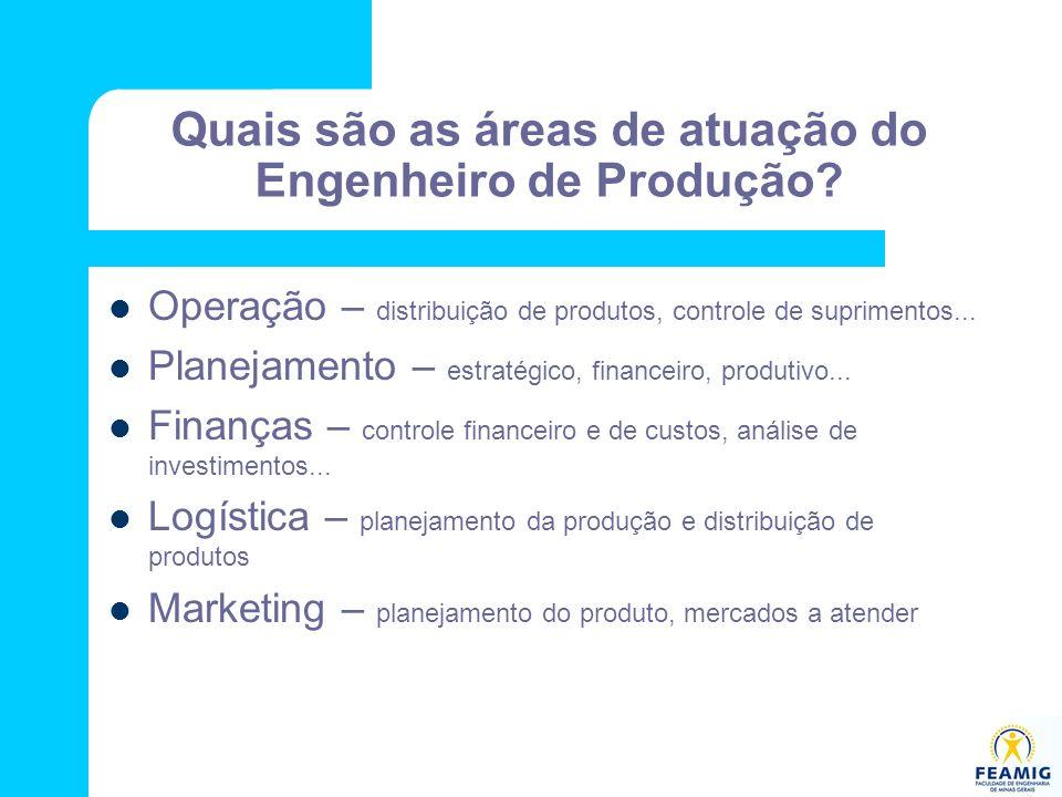 Quais são as áreas de atuação do Engenheiro de Produção? Operação – distribuição de produtos, controle de suprimentos... Planejamento – estratégico, f