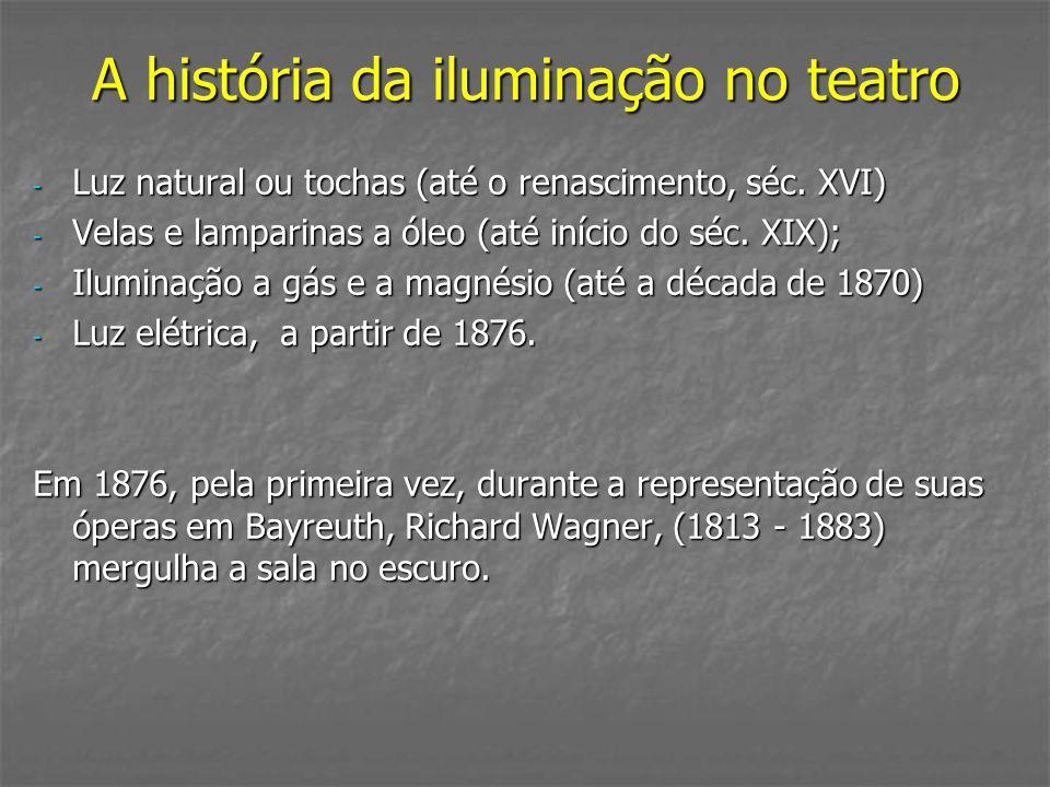 A história da iluminação no teatro - Luz natural ou tochas (até o renascimento, séc. XVI) - Velas e lamparinas a óleo (até início do séc. XIX); - Ilum
