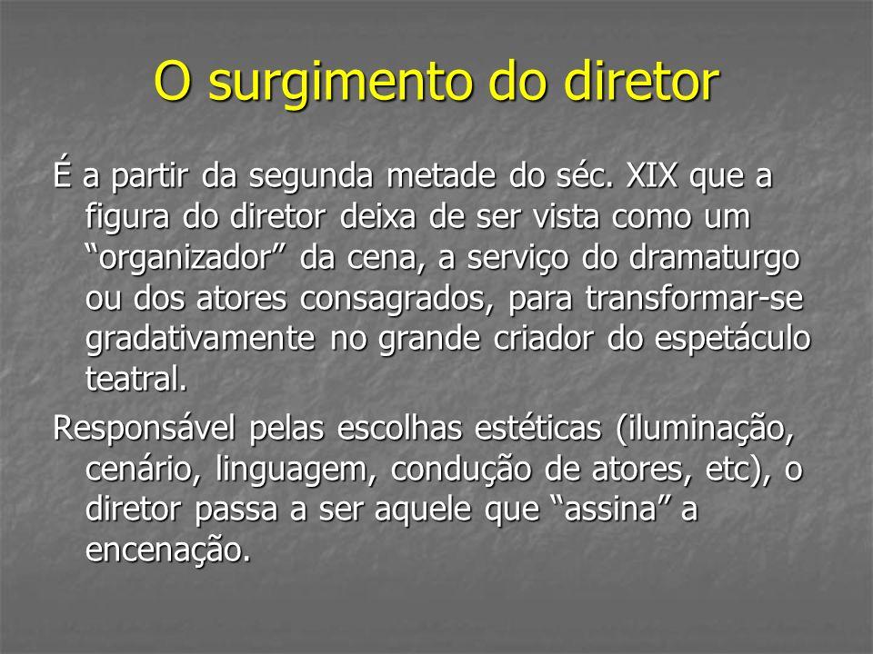 É a partir da segunda metade do séc. XIX que a figura do diretor deixa de ser vista como um organizador da cena, a serviço do dramaturgo ou dos atores
