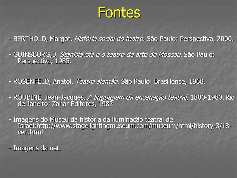 Fontes - BERTHOLD, Margot. História social do teatro. São Paulo: Perspectiva, 2000. - GUINSBURG, J. Stanislavski e o teatro de arte de Moscou. São Pau