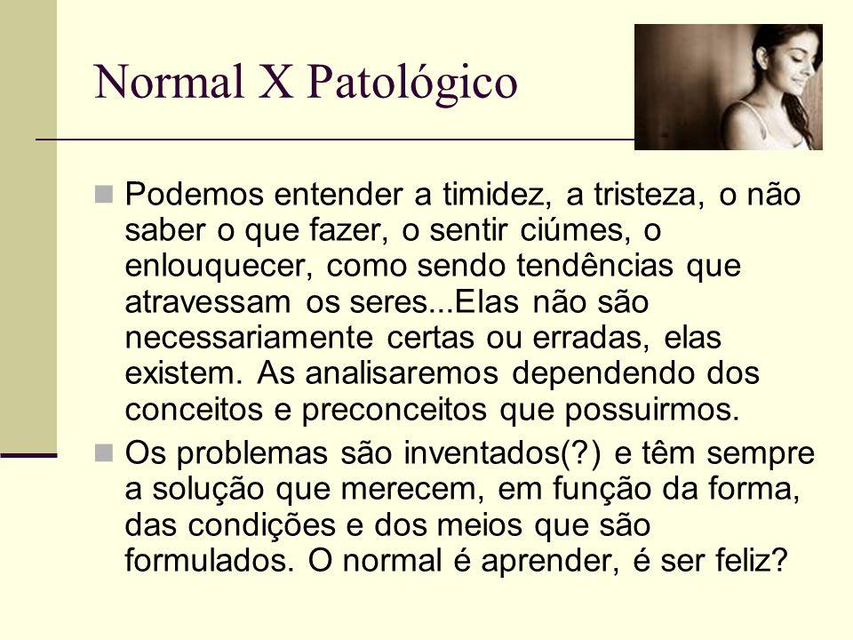 Normal X Patológico Podemos entender a timidez, a tristeza, o não saber o que fazer, o sentir ciúmes, o enlouquecer, como sendo tendências que atraves