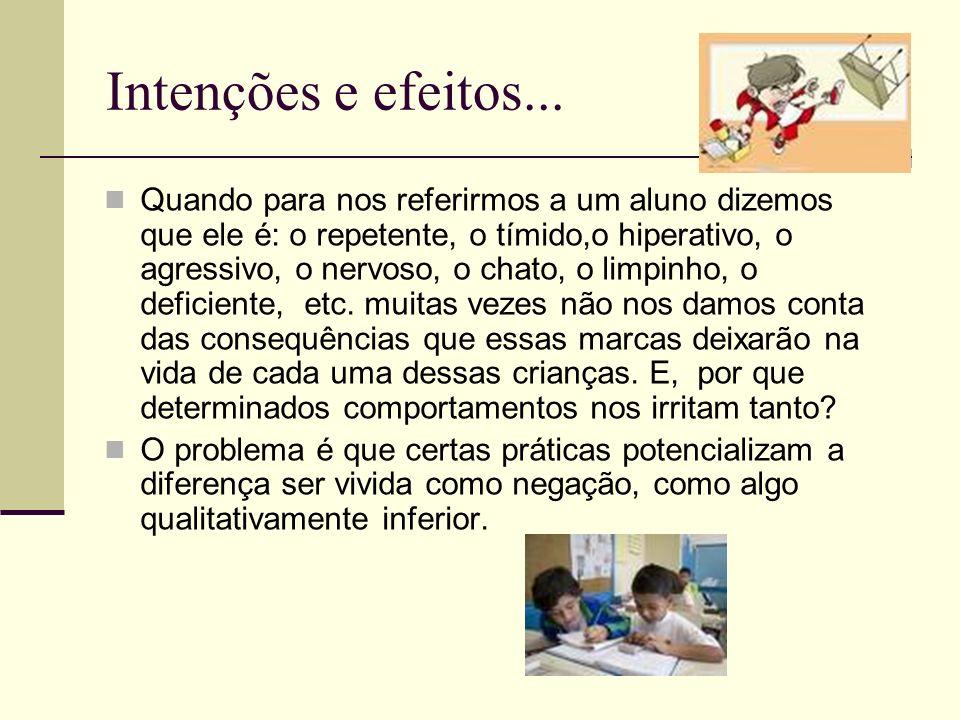Intenções e efeitos... Quando para nos referirmos a um aluno dizemos que ele é: o repetente, o tímido,o hiperativo, o agressivo, o nervoso, o chato, o