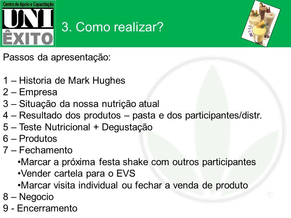 3. Como realizar? Passos da apresentação: 1 – Historia de Mark Hughes 2 – Empresa 3 – Situação da nossa nutrição atual 4 – Resultado dos produtos – pa
