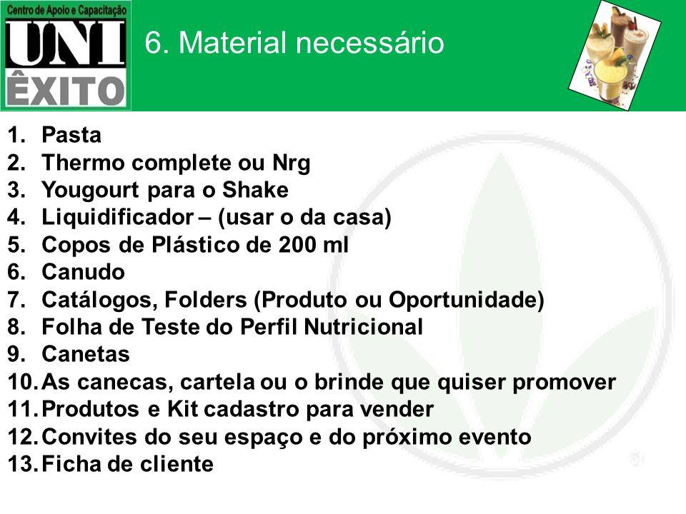 6. Material necessário 1.Pasta 2.Thermo complete ou Nrg 3.Yougourt para o Shake 4.Liquidificador – (usar o da casa) 5.Copos de Plástico de 200 ml 6.Ca