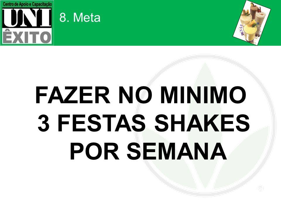 8. Meta FAZER NO MINIMO 3 FESTAS SHAKES POR SEMANA