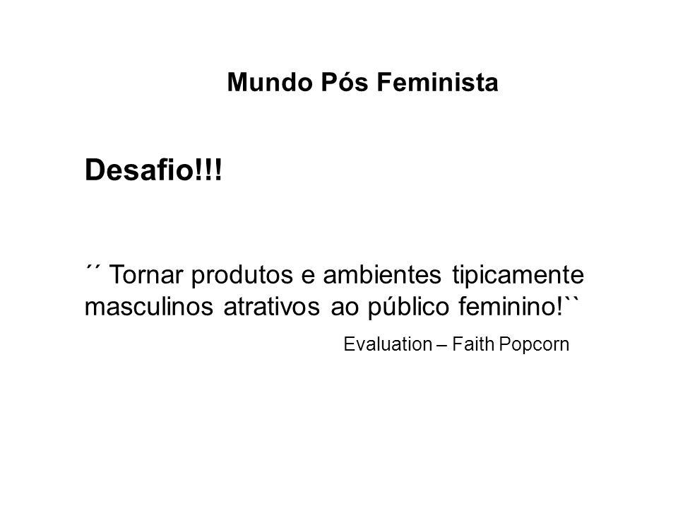 Mundo Pós Feminista Desafio!!! ´´ Tornar produtos e ambientes tipicamente masculinos atrativos ao público feminino!`` Evaluation – Faith Popcorn
