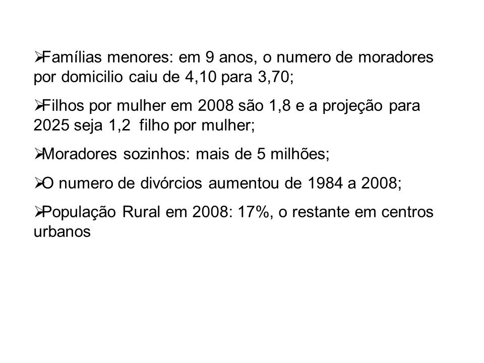Famílias menores: em 9 anos, o numero de moradores por domicilio caiu de 4,10 para 3,70; Filhos por mulher em 2008 são 1,8 e a projeção para 2025 seja
