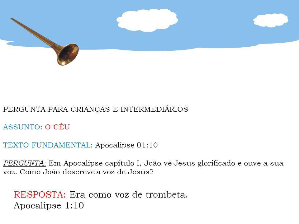 PERGUNTA PARA CRIANÇAS E INTERMEDIÁRIOS ASSUNTO: O CÉU TEXTO FUNDAMENTAL: Apocalipse 01:10 PERGUNTA: Em Apocalipse capítulo I, João vê Jesus glorifica