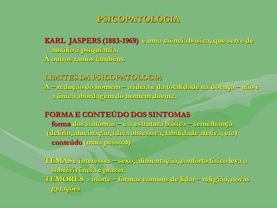 PSICOPATOLOGIA KARL JASPERS (1883-1969) é é é é uma ciência básica, que serve de auxílio à psiquiatria.