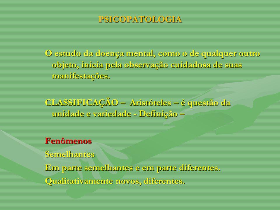 PSICOPATOLOGIA O estudo da doença mental, como o de qualquer outro objeto, inicia pela observação cuidadosa de suas manifestações.