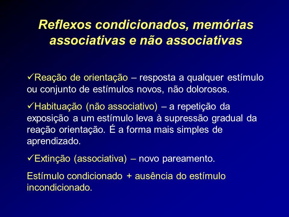Reflexos condicionados, memórias associativas e não associativas Reação de orientação – resposta a qualquer estímulo ou conjunto de estímulos novos, n