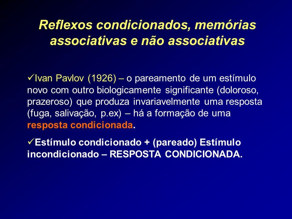 Reflexos condicionados, memórias associativas e não associativas Ivan Pavlov (1926) – o pareamento de um estímulo novo com outro biologicamente signif