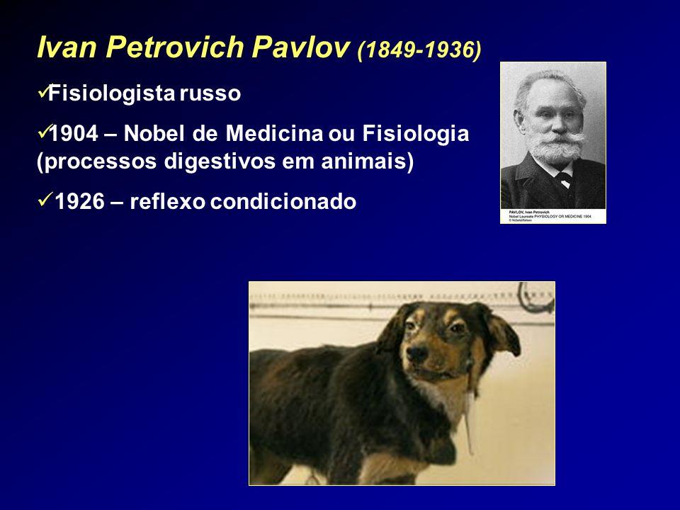 Ivan Petrovich Pavlov (1849-1936) Fisiologista russo 1904 – Nobel de Medicina ou Fisiologia (processos digestivos em animais) 1926 – reflexo condicion