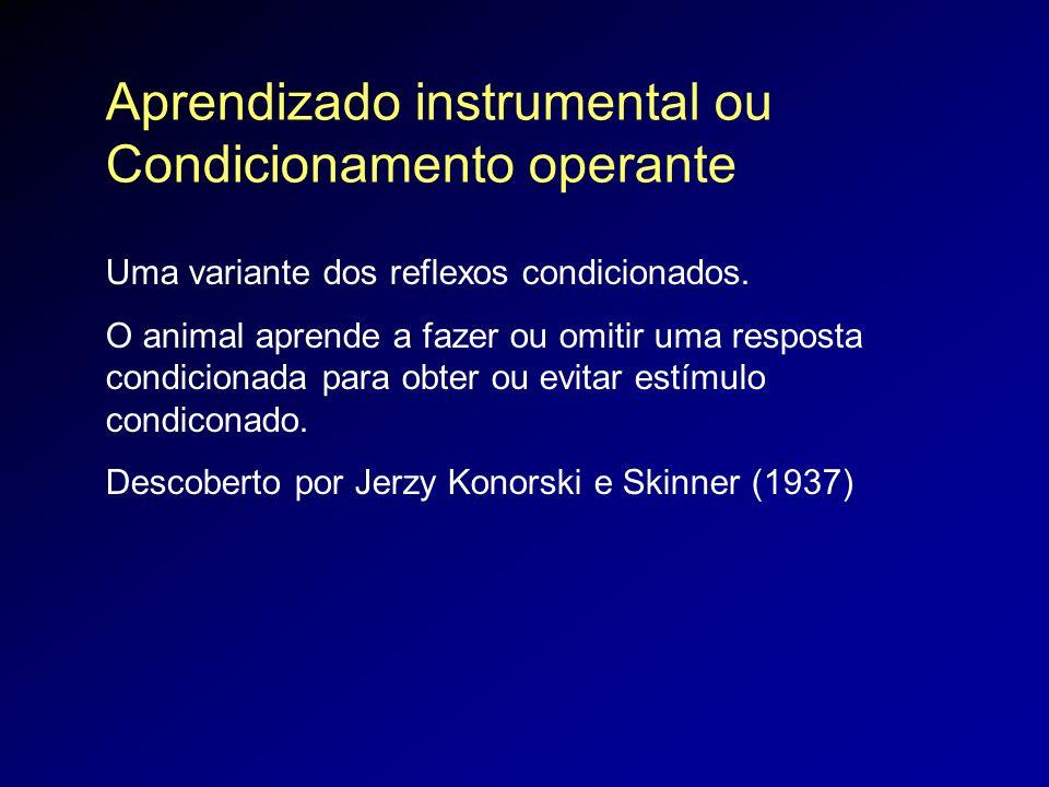 Aprendizado instrumental ou Condicionamento operante Uma variante dos reflexos condicionados. O animal aprende a fazer ou omitir uma resposta condicio