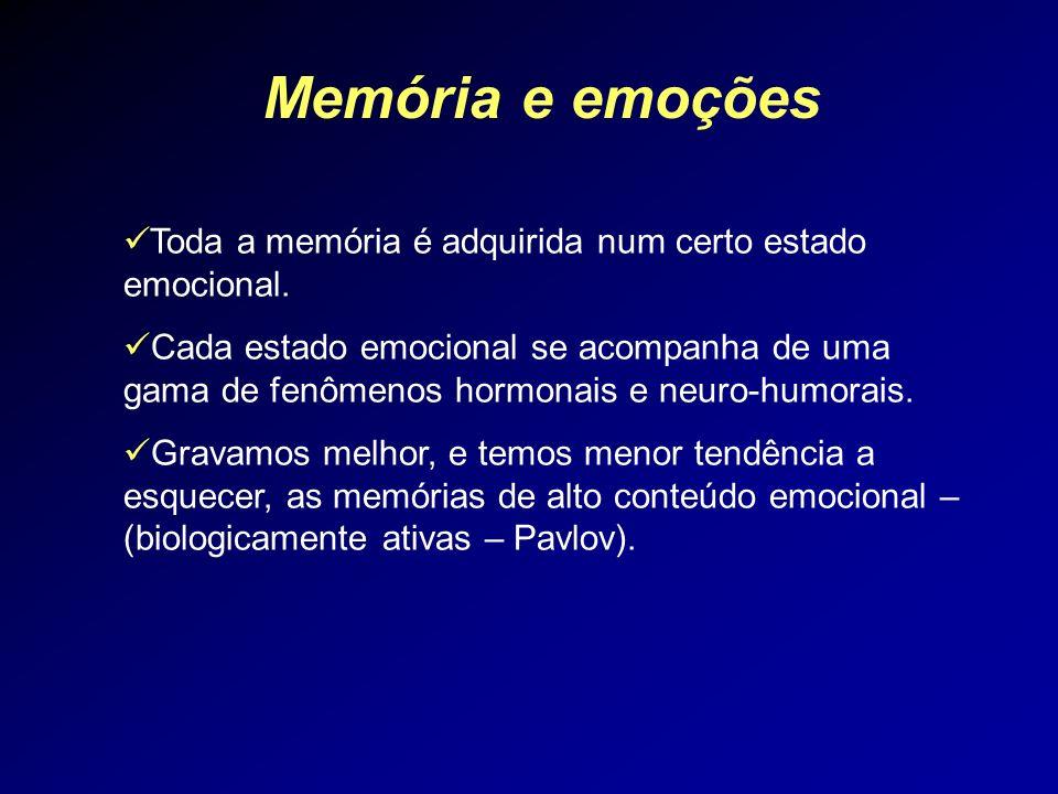 Memória e emoções Toda a memória é adquirida num certo estado emocional. Cada estado emocional se acompanha de uma gama de fenômenos hormonais e neuro
