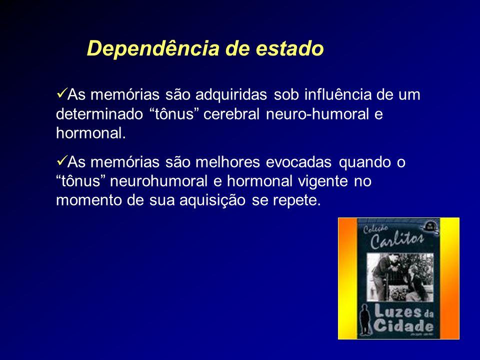 Dependência de estado As memórias são adquiridas sob influência de um determinado tônus cerebral neuro-humoral e hormonal. As memórias são melhores ev